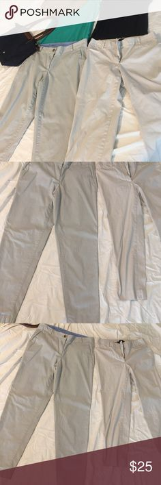 2 pairs Talbots khaki pants Selling two pairs Talbots pants. One pair capris size 2 and one pair full length pants size 4. Both rarely worn and in excellent condition! Price is for BOTH pairs! Talbots Pants