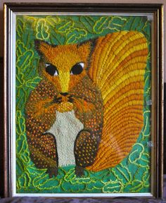 Thrift shop find: Crewel embroidery squirrel