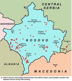 Balkans War use of depleted uranium. Now let's see the places and frequencies of birth defects that have occurred overlaid on the map. A far greater concern exists in that particulates from using DU are blown into the air and land on people distant from the original use.