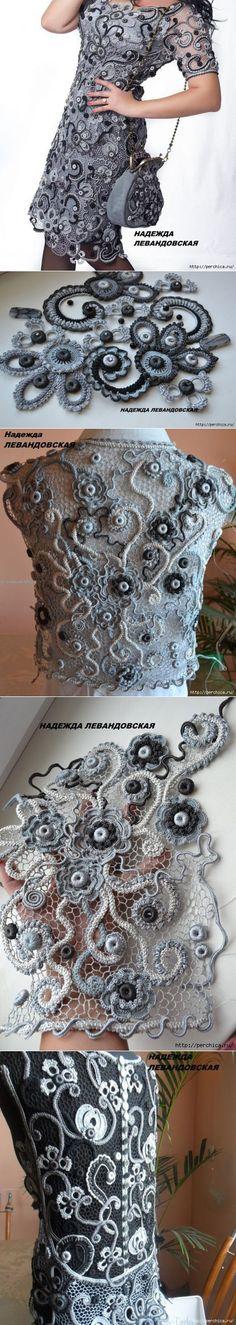 Платье связанное ирландским кружевом от Надежды Левандовской | Вязание крючком | Постила