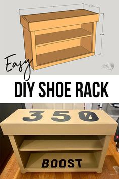 Easy DIY shoe rack plans using wood. Learn how to make this simple beginner-friendly project #anikasdiylife Kreg Jig Projects, Scrap Wood Projects, Woodworking Projects That Sell, Woodworking Ideas, Furniture Projects, Diy Furniture, Diy Projects, Project Ideas, Craft Ideas