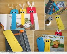 Make bookmarks - cool crafting ideas for DIY bookmarks - Lesezeichen, . Kids Crafts, Diy Crafts To Do, Craft Projects, Paper Crafts, Homemade Crafts, Craft Ideas, Monster Bookmark, Diy 2019, Cute Bookmarks