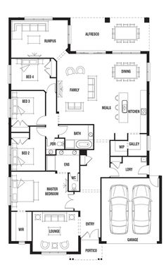 I like the idea of having my own loungeroom attached to the bedroom Porter Davis Homes - House Design: Vermont Move the lounge back, main forward, and make an activity room for the kids. 4 Bedroom House Plans, Family House Plans, New House Plans, Dream House Plans, House Floor Plans, House Layout Plans, House Layouts, Single Storey House Plans, Home Design Floor Plans
