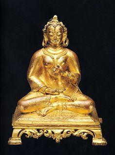 14th century, Nepal, Khasa Malla Kingdom, female deity, gilt copper, 20,5 cm, published by Ian Alsop. May be prajnaparamita