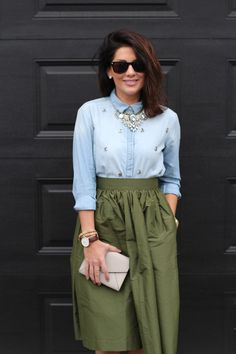 olive green skirt + bejeweled chambray.