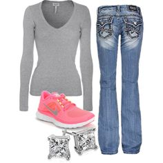 """""""Pop of Coral"""" by small-town-country-gurl on Polyvore...Love this for a casual look on days you don't want to get all dressed up"""