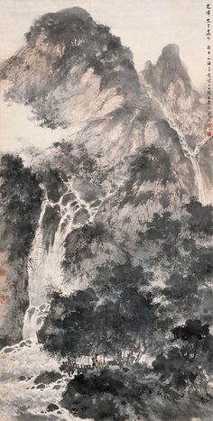 Fu Baoshi's Landscape Asian Landscape, Chinese Landscape Painting, Korean Painting, Japanese Painting, Chinese Painting, Landscape Art, Japanese Art, Landscape Paintings, Waterfall Paintings