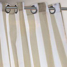 One of my favorite discoveries at WorldMarket.com: Khaki Striped Escape Grommet Top Curtain