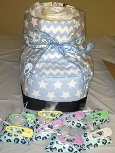 Baby booties diaper cake comes in a set of two. by PhanCFhavors, $85.00