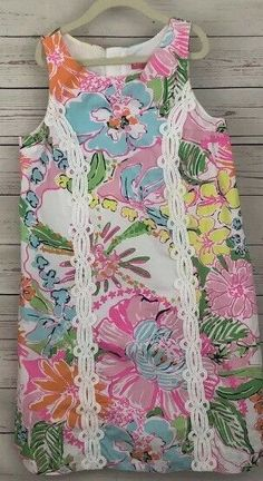 1484874a4a9 Lilly Pulitzer For Target Girls Shift Nosey Posey Lined Dress Sz Large 10-12