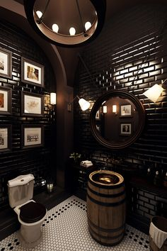 restaurant bathroom Black subway wall tile in Modern Victorian bathroom Restaurant Bad, Restaurant Bathroom, Restaurant Interiors, Modern Restaurant Design, Black Restaurant, Pub Interior, Bathroom Interior, Bar Interior Design, Pub Design