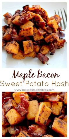 This is seriously the perfect brunch recipe! This Maple Bacon Sweet Potato Hash recipe is a sweet and savory dish that goes great at breakfast, brunch, OR dinner! It is sure to be a favorite family recipe! | www.DeliciousLittleBites.com