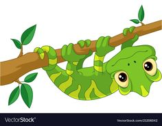 Chameleon on branch Royalty Free Vector Image - VectorStock Children's Book Illustration, Digital Illustration, Illustrations, Cartoon Lizard, Emotions Preschool, Branch Vector, Pet Rocks, Chameleons, Lizards