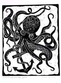 Octopus and Anchor - Block Print