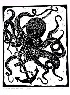 Octopus and Anchor  Block Print by kirayustak on Etsy, $15.00