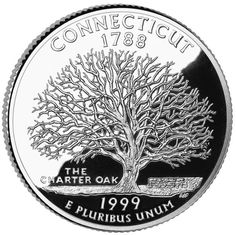 The Connecticut quarter shows the famous Charter Oak tree that hid the charter won from Britain's King Charles II in 1662, which established Connecticut's boundaries & self-rule. In 1687, Captain Joseph Wadsworth saved the charter from the hands of the British, hiding it safely in this tree. Even after Connecticut became a state in 1788, it continued to use the hidden 1662 British Charter as its constitution, until a new state constitution was adopted in 1965.