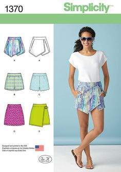 Misses asymmetric skort with pockets or mini skirt with buckle, shorts with or without scalloped overlay and mini skirt are must haves for this season. All have back zipper. Simplicity sewing pattern by In K.