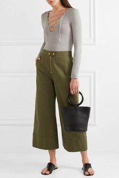Splendid - Lace-up Ribbed Strech-knit Bodysuit - Gray - x large