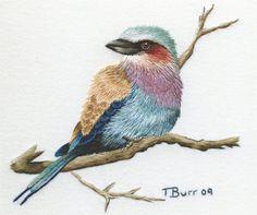 Kit de broderie : Lilas Breasted Roller par TRISHBURREMBROIDERY