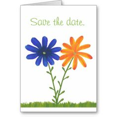 Blue Orange Daisy #Flowers Save the Date Note Cards #SaveTheDate #SaveTheDateCards