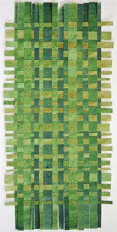 Green Paper Weaving- Original Acrylic  Painting- Contemporary Decor- Rectangle. $78.00, via Etsy.
