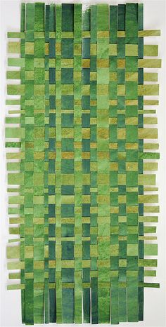 Green Paper Weaving- Original Acrylic Painting- Contemporary Decor- Rectangle. $78.00, via Etsy.
