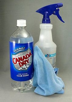using club soda to:  Get out tough stains on fabric (pour on club soda and scrub gently),  To clean silver jewelry – place pieces in a glass of club soda and soak overnight  To clean glass surfaces  In  place of water – fill a spray bottle with club soda and use it to remove dirt more effectively from countertops, etc
