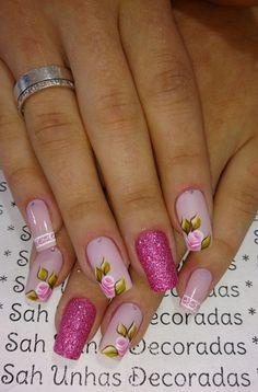 Ideas For Nails Design Frances Glitter Pretty Nail Art, Beautiful Nail Art, Nails Only, Love Nails, Diy Nails, Glitter Nails, Trendy Nails, Spring Nails, Cute Nail Designs