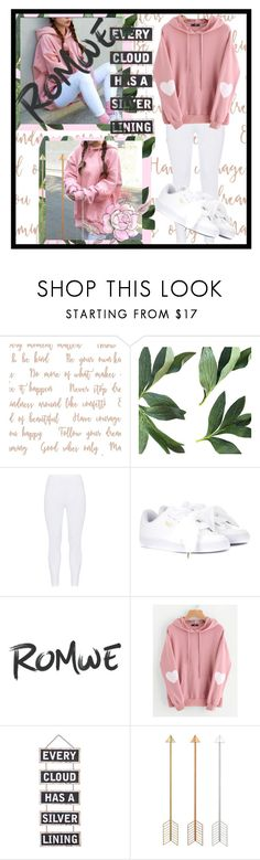 """""""Romwe Heart Print Hoodie"""" by fancysid ❤ liked on Polyvore featuring Gozzip, Puma and Silver Lining"""