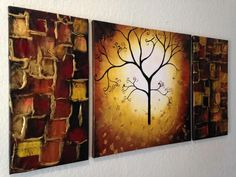 Three piece, brown tree abstract painting on canvas  ... from Google Images
