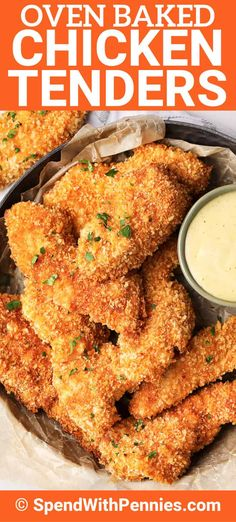 This homemade chicken tenders recipe is the best weeknight meal. Chicken strips are breaded and baked until crispy, juicy and absolutely delicious! Homemade Chicken Tenders Recipe, Homemade Chicken Strips, Oven Baked Chicken Tenders, Baked Chicken Strips, Chicken Strip Recipes, Chicken Breading Recipe Flour, Baked Chicken And Waffles Recipe, Best Breaded Chicken Recipe, Baked Chicken Meals