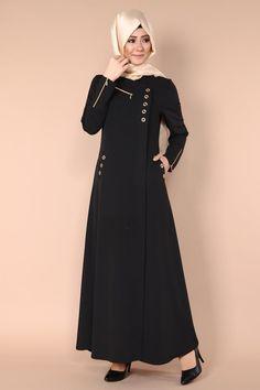 Kuş Gözü Detaylı Ferace AH2114 Modern Hijab Fashion, Muslim Women Fashion, Abaya Fashion, Fashion Dresses, Hijab Style Dress, Modele Hijab, Abaya Designs, Muslim Dress, Party Wear Dresses