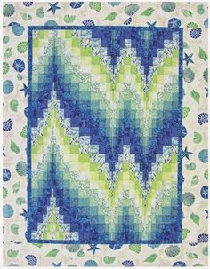 """= free pattern = Serenity Bargello quilt, 47 x 62"""", by Patti Carey for Northcott as seen at Quilt Inspiration"""