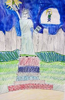 """5th grade read a book about Marc Chagall, """"Journey on a Cloud"""" and made paintings inspired by the book.  Great job Sophie!"""
