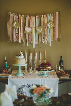 Handmade ribbon backdrop for the dessert table decor {Cassie Jones Photography}
