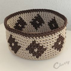 Charry Crocheted basket diamond pattern