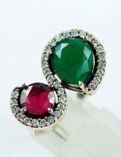 Round/Pear Emerald/Ruby Gemstone Ring Solid 925 by ernestosaks