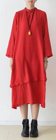 71f53f7eaea Organic stand collar asymmetric cotton clothes stylish Runway red Kaftan  Dress spring. Plus Size ...