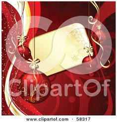 Royalty-Free (RF) Clipart Illustration of a Golden Snowflake Tag Bordered With Christmas Ornaments And Red Vines by KJ Pargeter