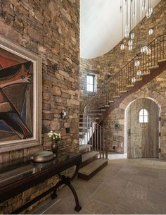 Mountain Home Design, Pictures, Remodel, Decor and Ideas - page 39 Curved Staircase, Staircase Design, Wood Balusters, Railings, Stone Interior, Interior Design, Rustic Patio, Glass Balustrade, Mountain Living