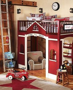A fire truck themed bedroom makes your little one feel like theyre at the fire station! Now this has got to be my most favorite room!  Very unique! #potterybarnkids