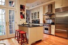 Parlor floor kitchen in Brooklyn Heights townhouse.