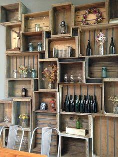 Wooden Crate Bar Display New Ideas Wooden Crates Bar, Wooden Crate Shelves, Crate Shelving, Wooden Cafe, Crate Bookshelf, Wooden Wall Decor, Pub Interior, Pub Decor, Kitchen Decor