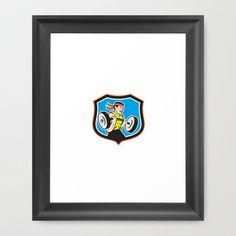 Weightlifter Lifting Barbell Shield Cartoon Framed Art Print