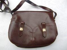 1970 Vintage Français brun sac à bandoulière, sac à main en faux cuir