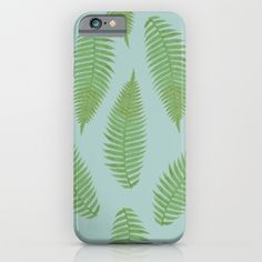 fern pattern - blue iPhone & iPod Case