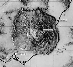 Comparison of Olympus Mons with south-eastern Australia. Prepared for NASA by Stephen Paul Meszaros. Mars Planet, Olympus, Nasa, Australia, Big