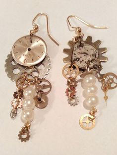 Pearls Gears and Watch face Earrings by ClockworkBaubles on Etsy