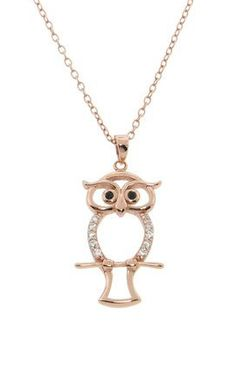 Rose Gold Pave Owl Necklace