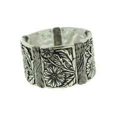 Silver Tone Sunflower Stretch Bracelet Silver Tone